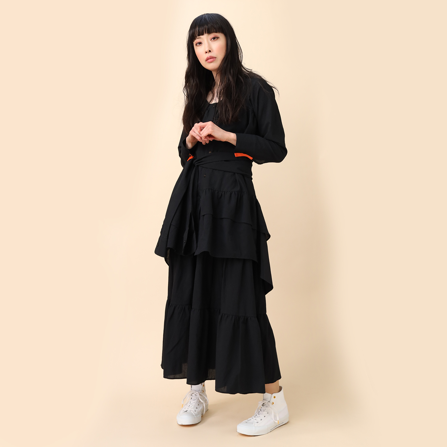 Flower Tiered Tunic Shirt (BLACK)