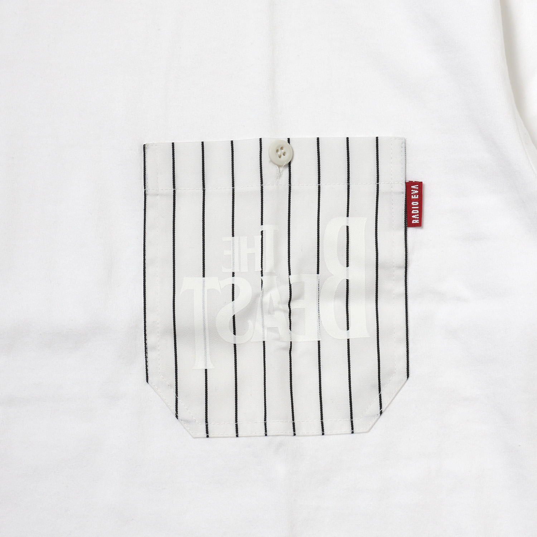 THE BEAST STRIPE POCKET T-Shirt (WHITE)
