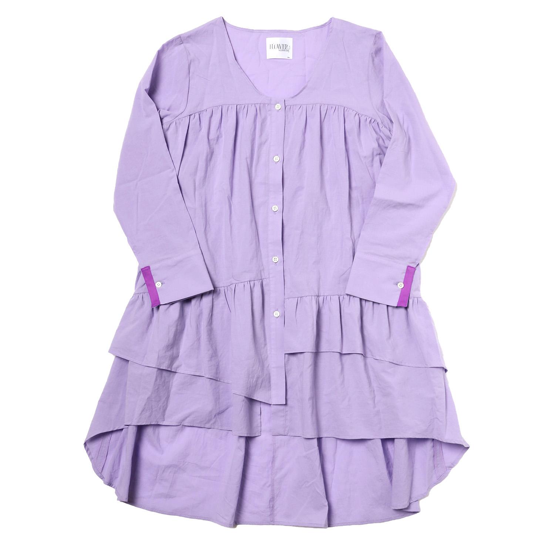 Flower Tiered Tunic Shirt (PURPLE)