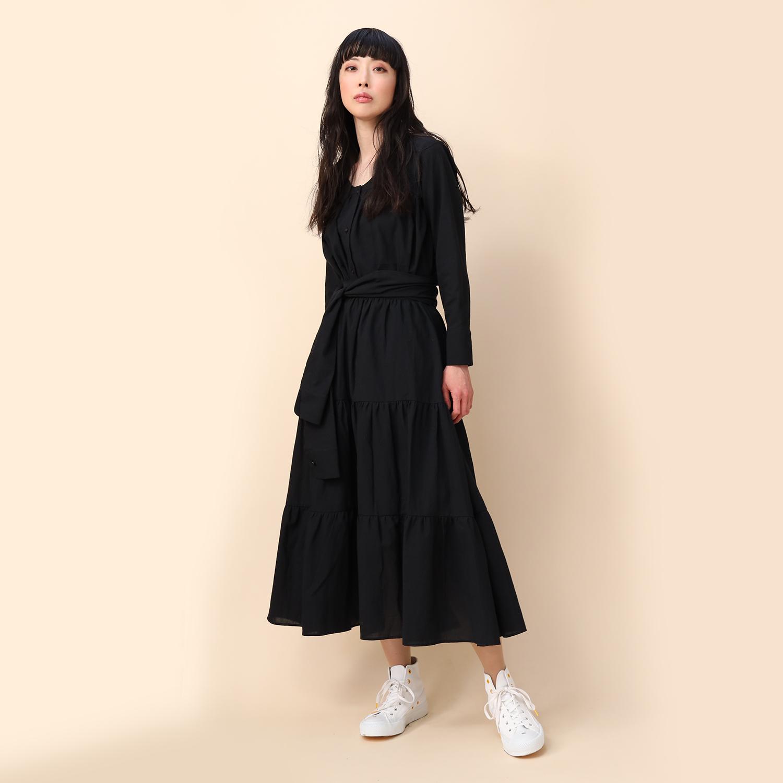 Flower Tiered Skirt (BLACK)