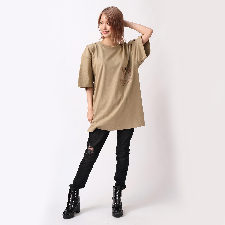 THE BEAST STRIPE POCKET T-Shirt (BEIGE)
