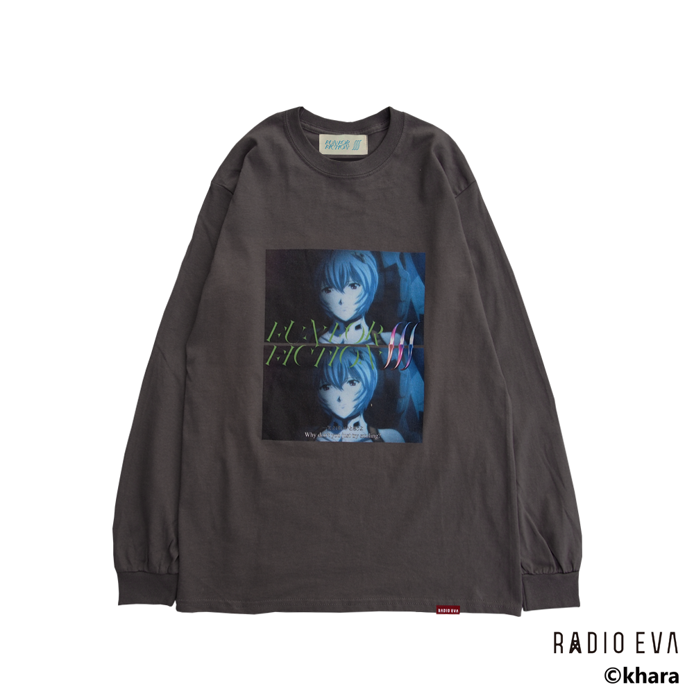 Ayanami (Why don't you just try smiling?) L/S Tee (CHACOAL)