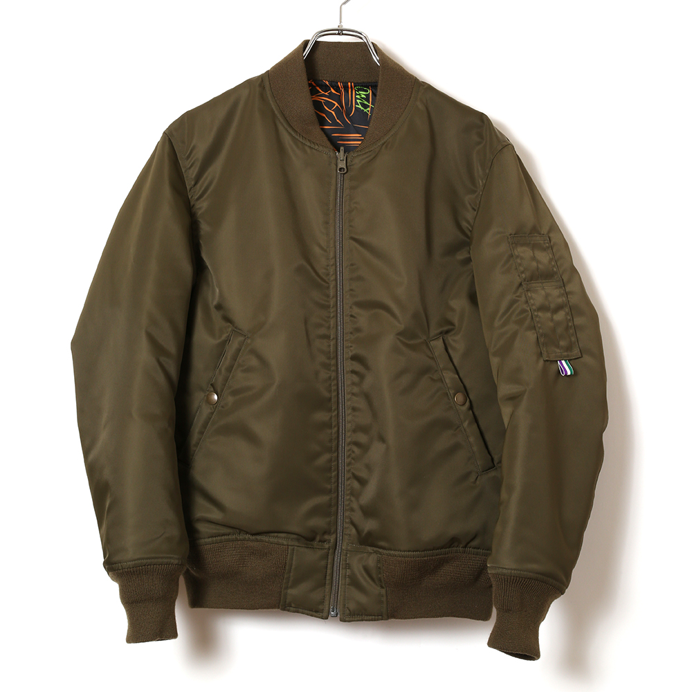 NERV PATTERNED ALL OVER REVERSIBLE MA-1 JACKET (カーキ)