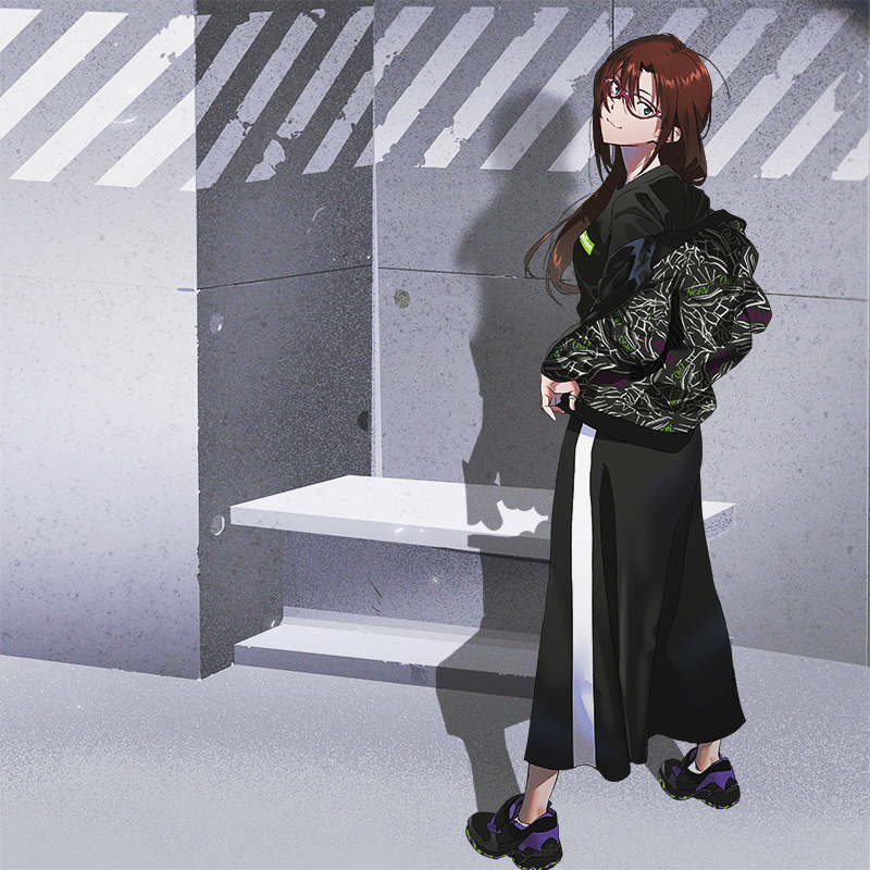 EVANGELION LINE LONG SKIRT (ブラック)