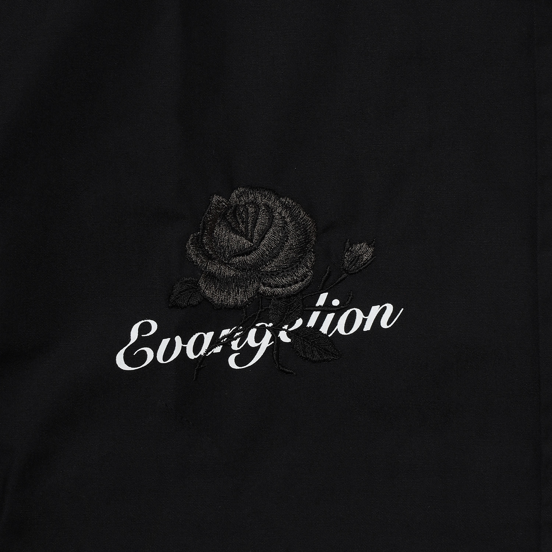 EVA-01 Flower Embroidery SHORT SLEEVE SHIRT BLACK EDITION (BLACK)