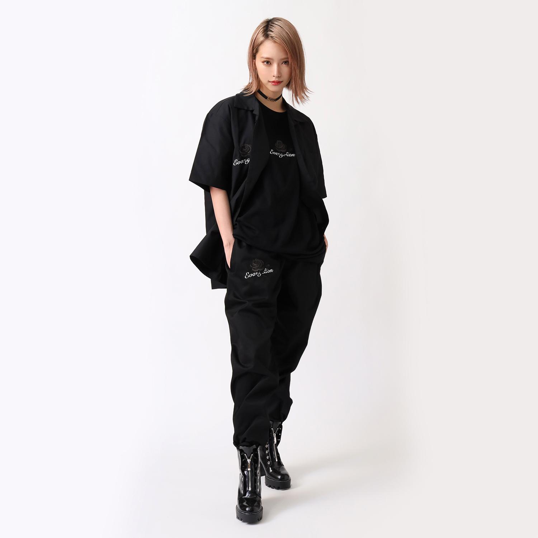 EVA-01 Flower Embroidery PANTS BLACK EDITION (BLACK)