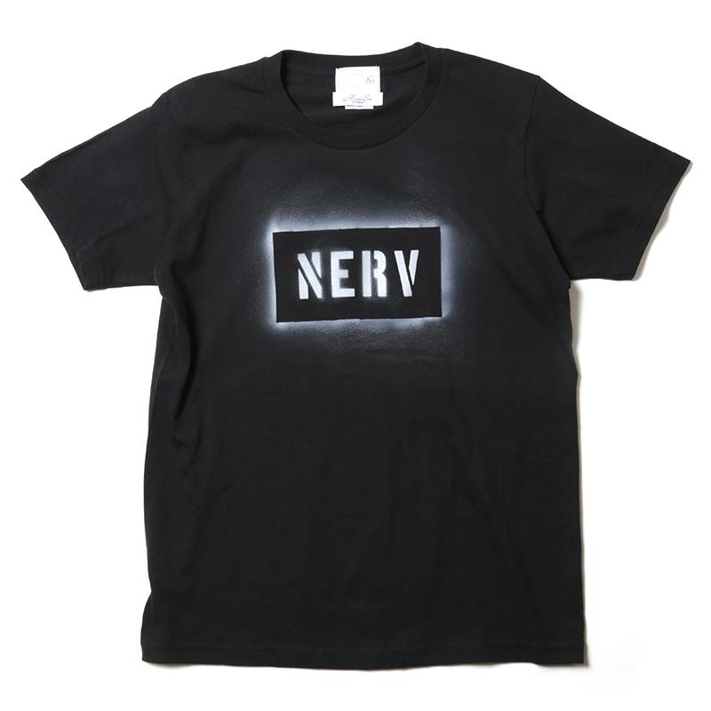NERV STENCIL T-Shirt by KAMIKAZE (ブラック)