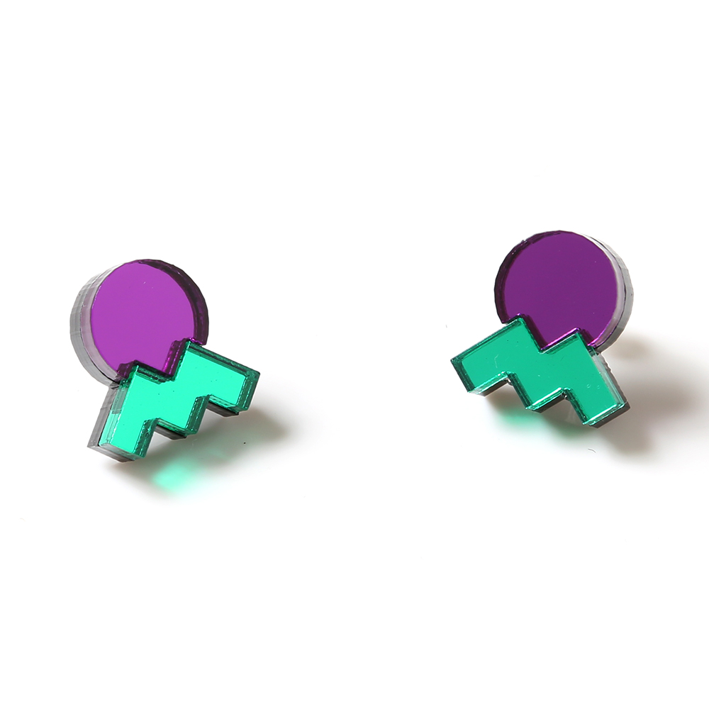 EVANGELION Acrylic Studs Earrings 02 by MYSTIC FORMS (EVA-01(SHINJI))