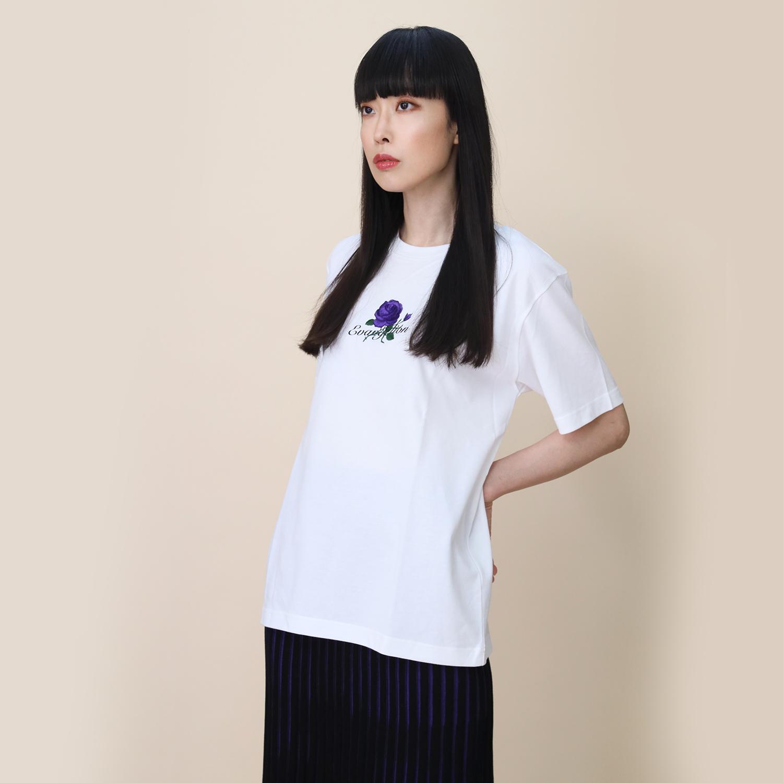 EVA-01 Flower Embroidery T-Shirt (WHITE)