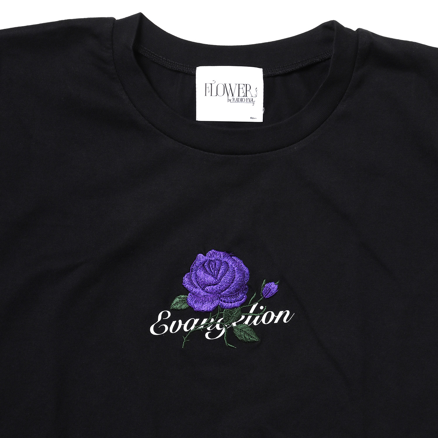 EVA-01 Flower Embroidery T-Shirt (BLACK)