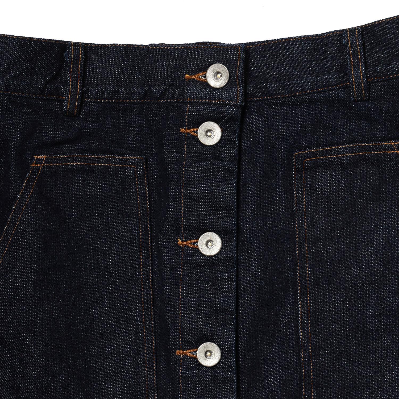 Button Fly Denim Skirt (INDIGO)