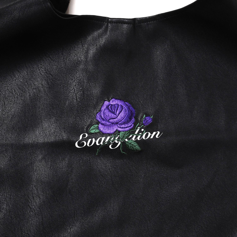 EVA-01 Flower Embroidery Tote Bag (BLACK)