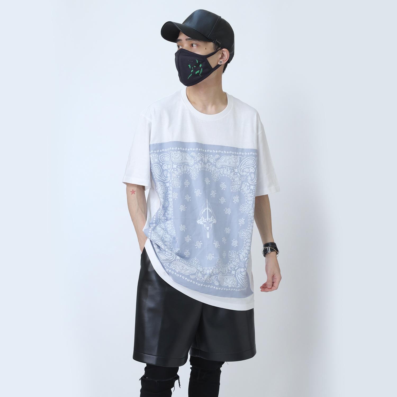 EVA-01 PAISLEYS BANDANNA T-Shirt (WHITE×BLUE)