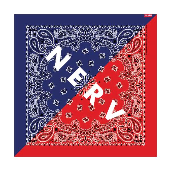 NERV SPLIT PAISLEYS BANDANA (ブルー×レッド)