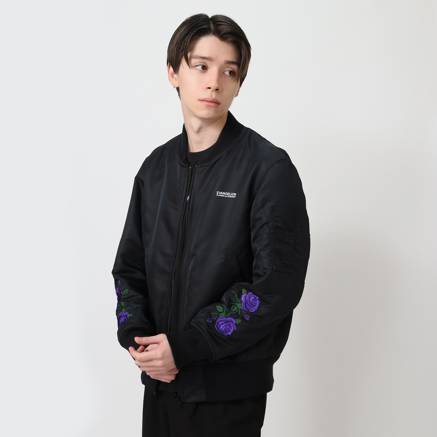 EVA-01 Flower Embroidery MA-1 (BLACK)