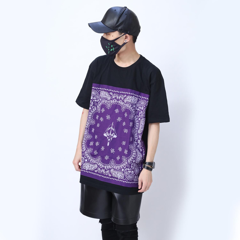 EVA-01 PAISLEYS BANDANNA T-Shirt (BLACK×PURPLE)
