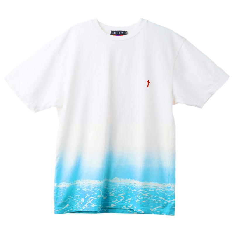 波打際 T-Shirt (WHITE×BLUE)