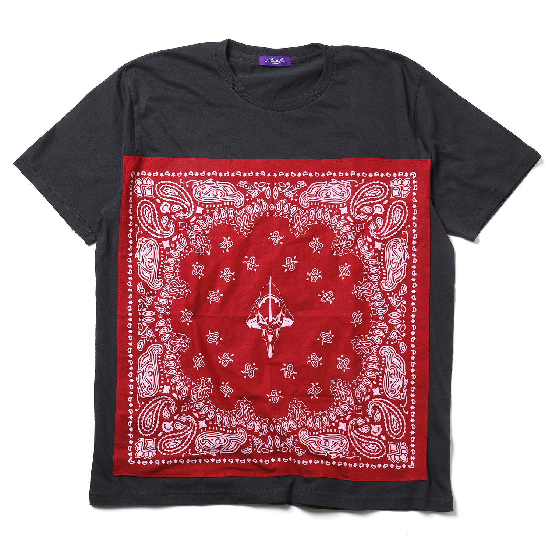 EVA-01 PAISLEYS BANDANNA T-Shirt (CHACOAL×RED)