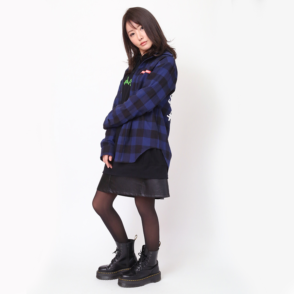 NEW ONLY SUMMER FLANNEL CHECK SHIRTS (ネイビー)