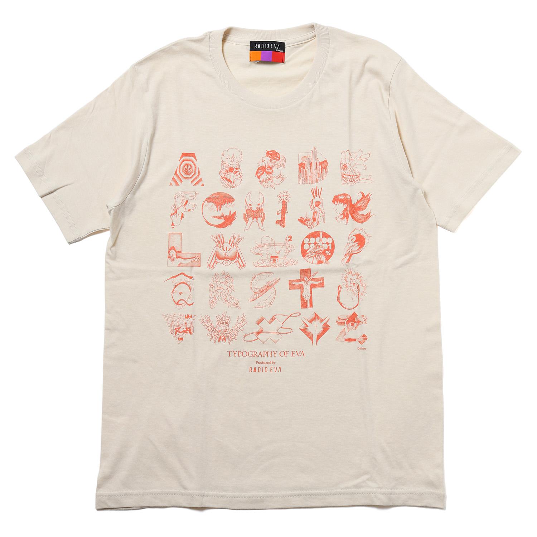 TYPOGRAPHY OF EVA index T-Shirt (NATURAL×ORANGE)