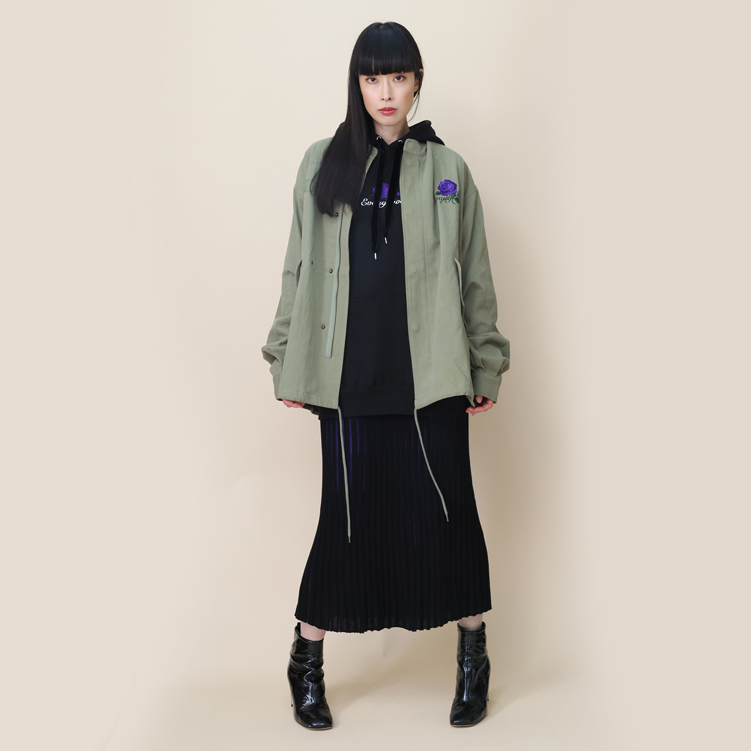 EVA-01 Flower Embroidery Military Jacket (SAGE)