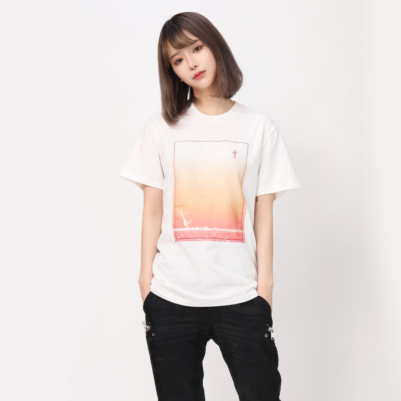 波打際 Organdy T-Shirts (WHITE(ORANGE))
