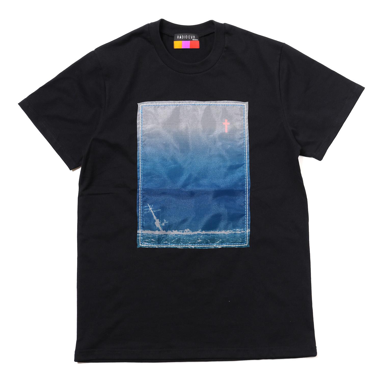 波打際 Organdy T-Shirts (BLACK(BLUE))