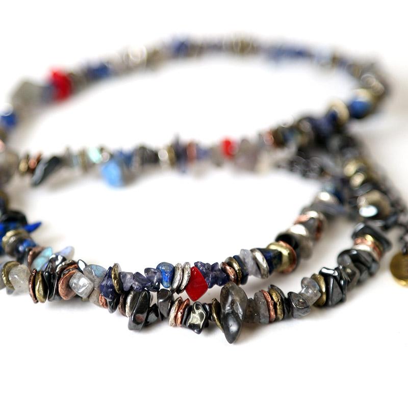 Pebble & Metal Chip's Beads Cord (VIVIFY) (ネイビー(渚カヲル))