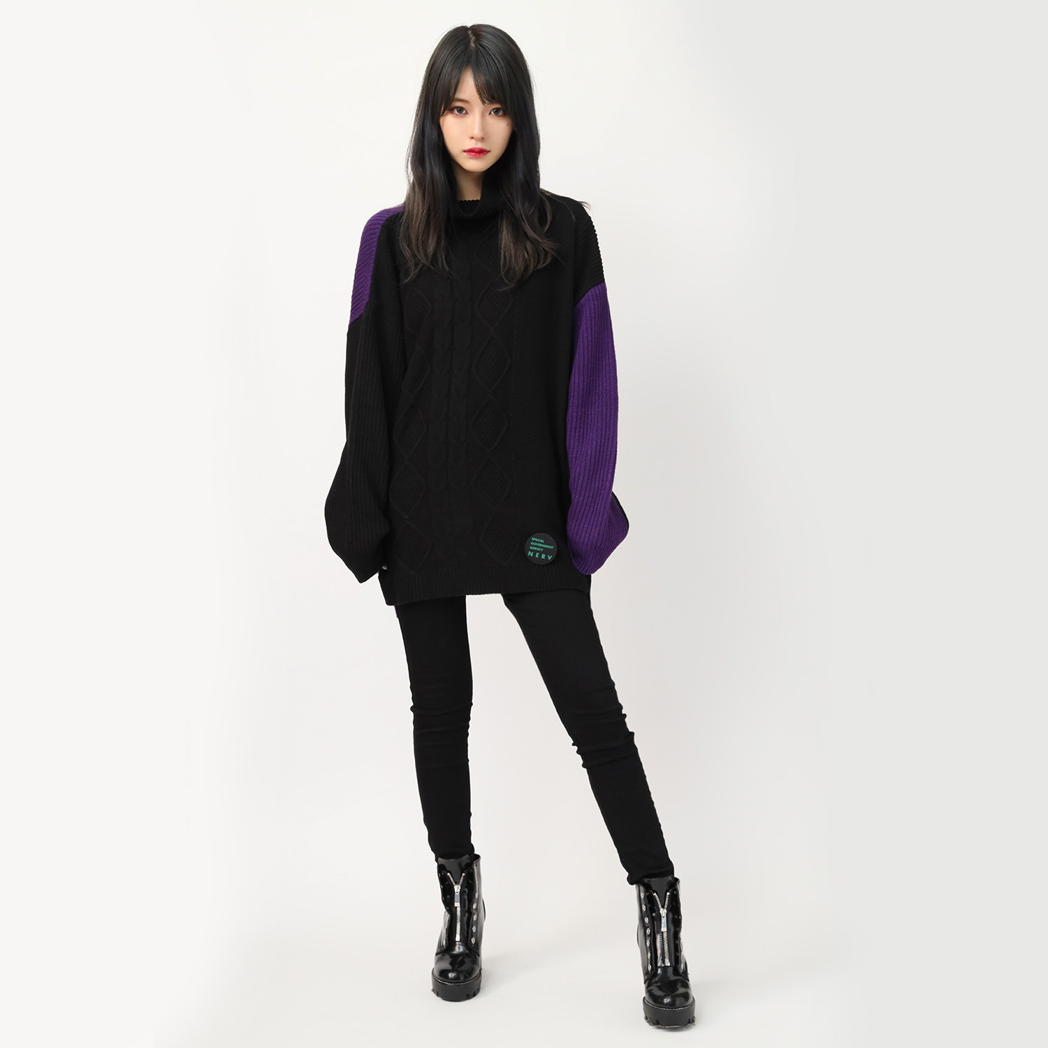 EVANGELION Panel Turtleneck Knit (BLACK(EVA-01))