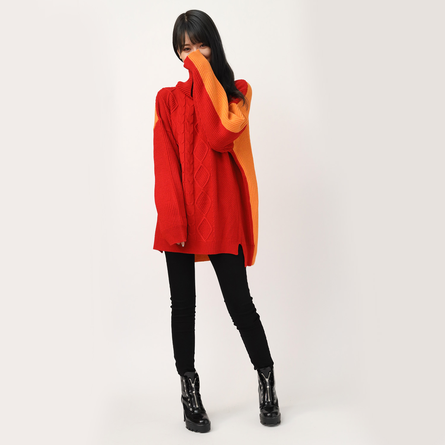 EVANGELION Panel Turtleneck Knit (RED(ASUKA))