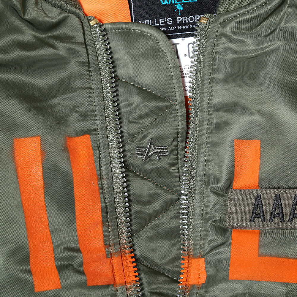"RADIO EVA × ALPHA MA-1 ""KAMIKAZE CUSTOM"" WILLE EDITION (VTG.GREEN(SAGE)�)"
