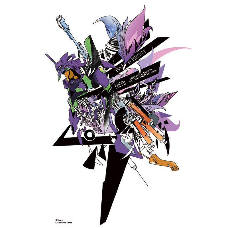 Abstract EVANGELION T-Shirt(KENTA KAKIKAWA) 初号機(グレー)