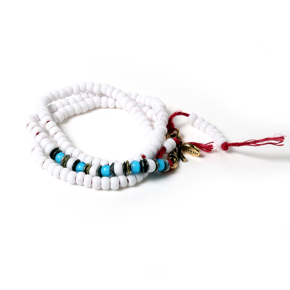 EVANGELION Hemp Code & Beads Bracelet/Necklace (VIVIFY) (ホワイト(レイ))