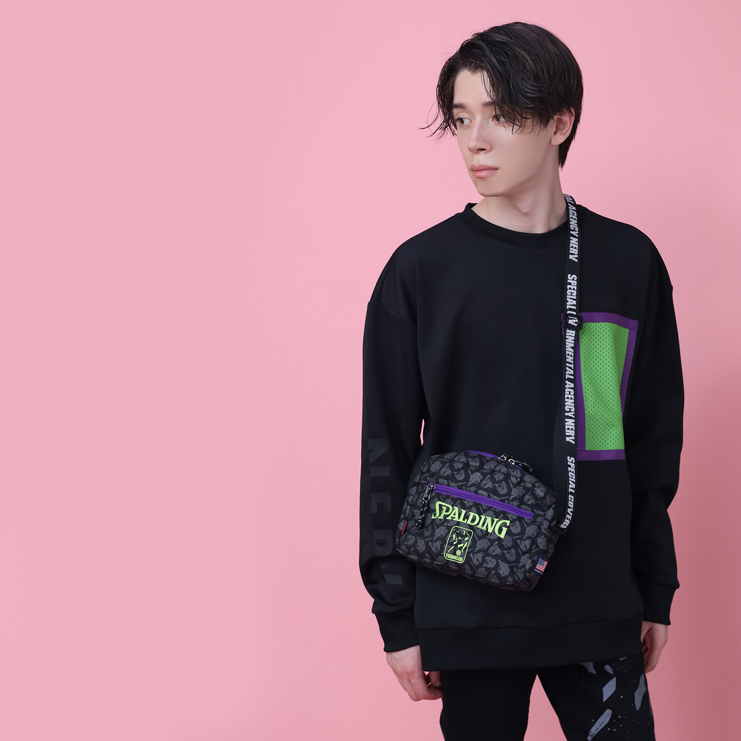 EVA-01 Shoulder Bag by SPALDING (Black x Green)