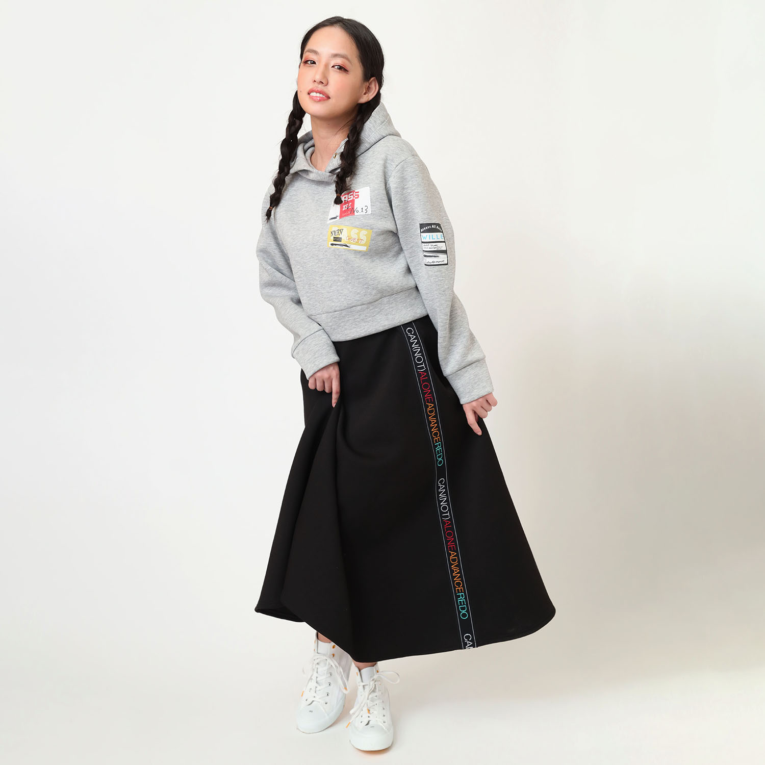 CAN(NOT) Flared Line Skirt (ブラック)