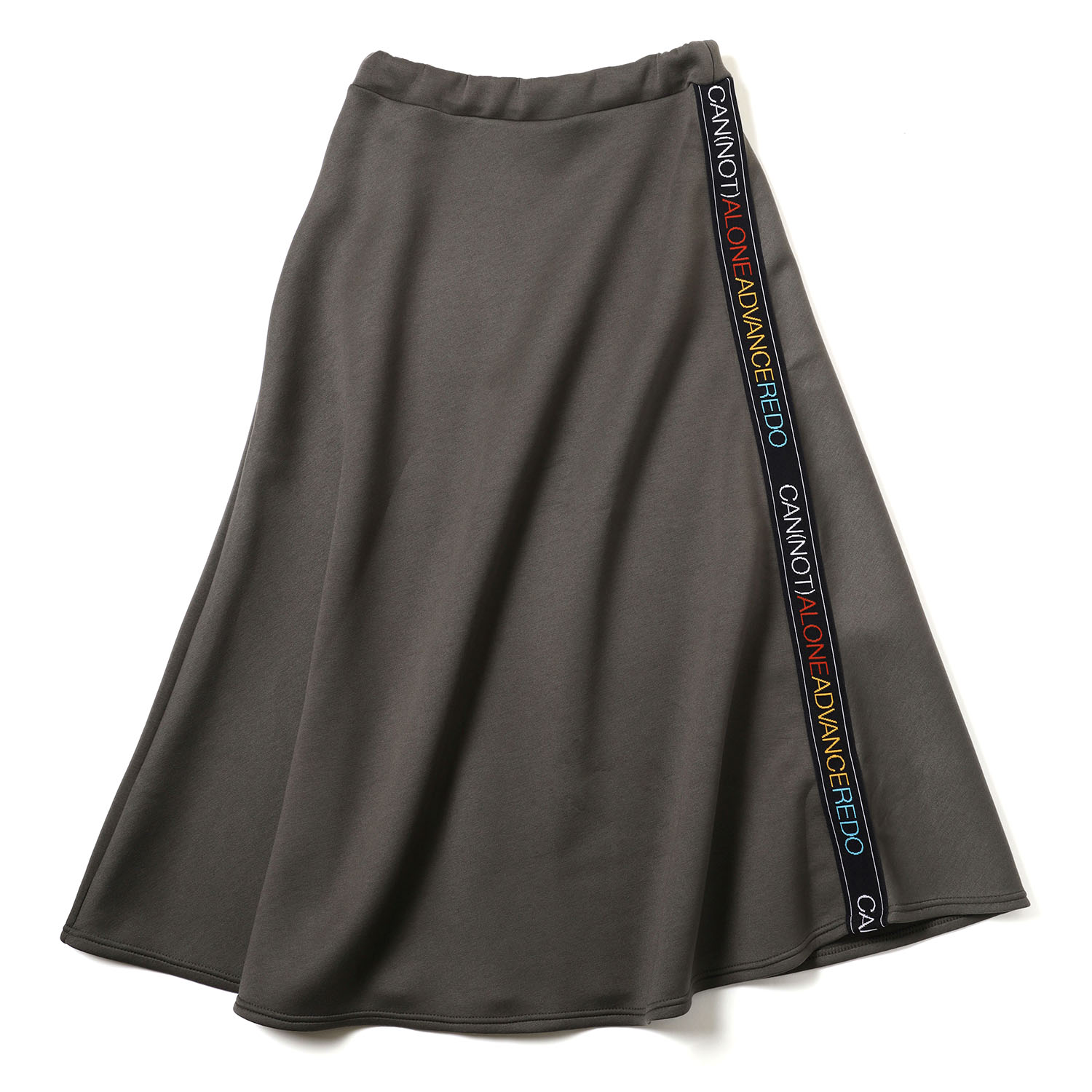 CAN(NOT) Flared Line Skirt (カーキ)