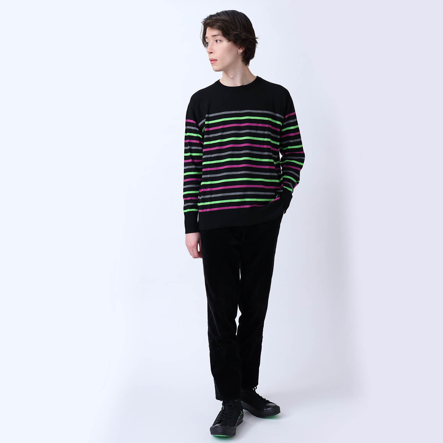 EVANGELION BORDER KNIT (GRAY×GREEN×PURPLE)