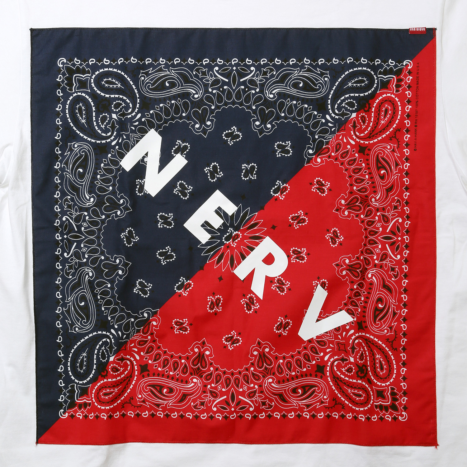 NERV SPLIT PAISLEYS BANDANA T-Shirt (ブルー×レッド)