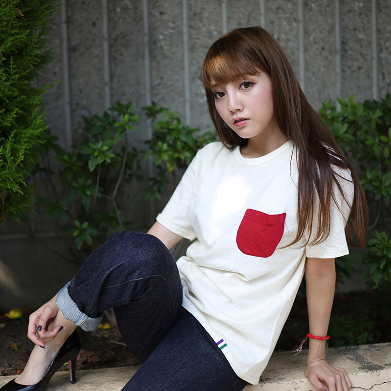 LOOPWHEEL EVA POCKET T-shirt (レッド×オレンジ)