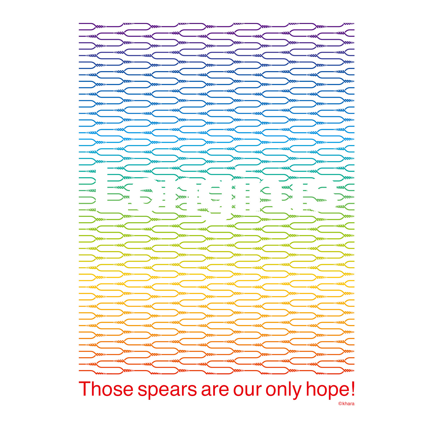 Longinus Art T-Shirt (BLACK×RAINBOW)