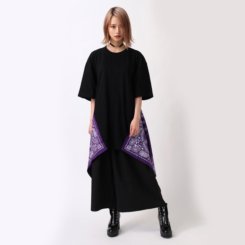 EVA-01 PAISLEYS BANDANNA BIG T-Shirt (BLACK×PURPLE)