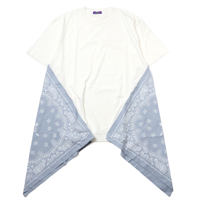 EVA-01 PAISLEYS BANDANNA BIG T-Shirt (WHITE×BLUE)