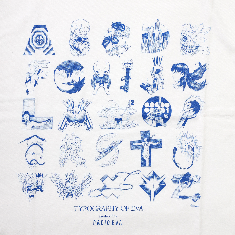 TYPOGRAPHY OF EVA index T-Shirt (WHITE×BLUE)