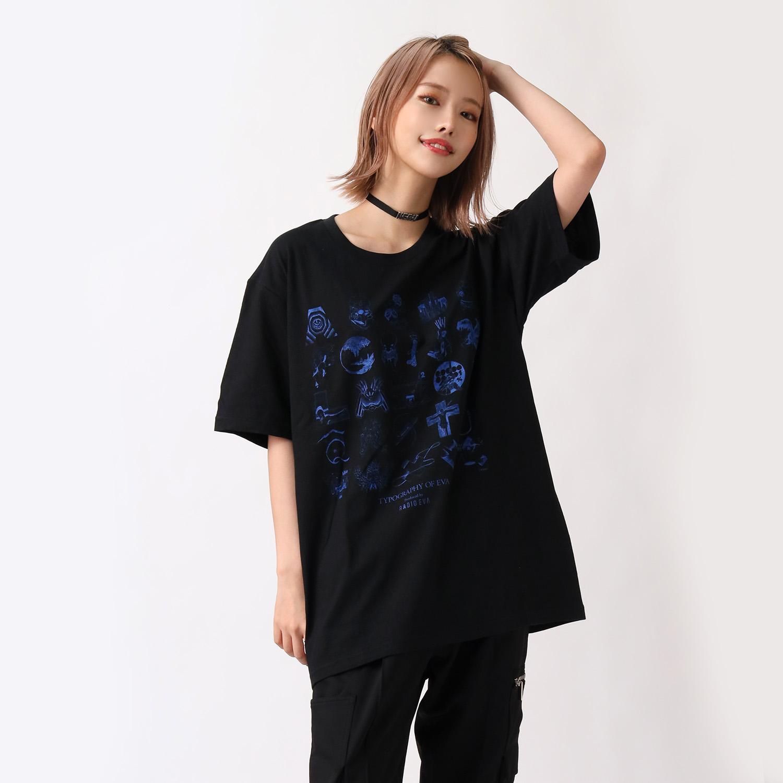 TYPOGRAPHY OF EVA index T-Shirt (BLACK×BLUE)