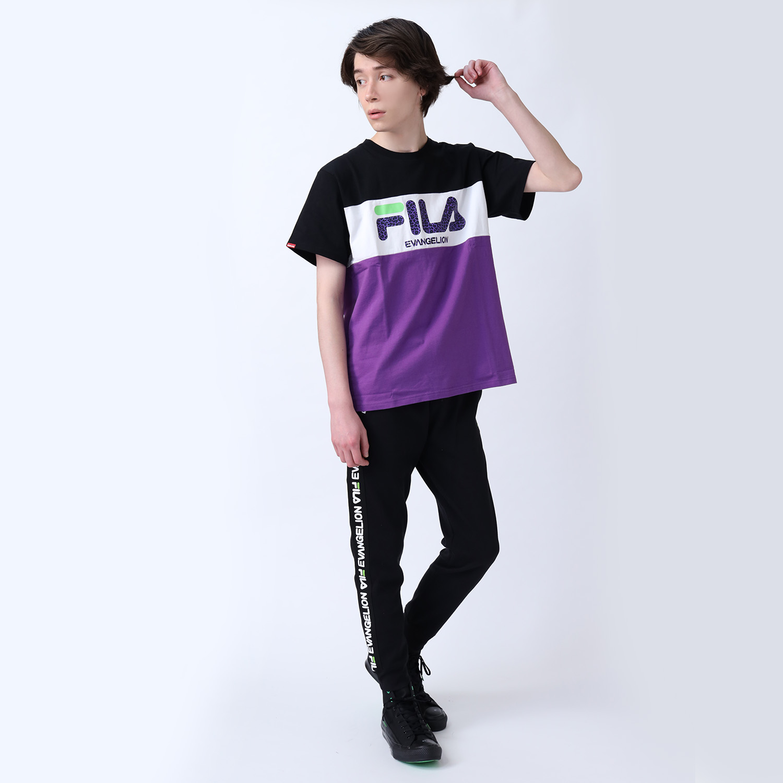 FILA SWITCHING LOGO T-Shirt EVANGELION LIMITED (BLACK×PURPLE)