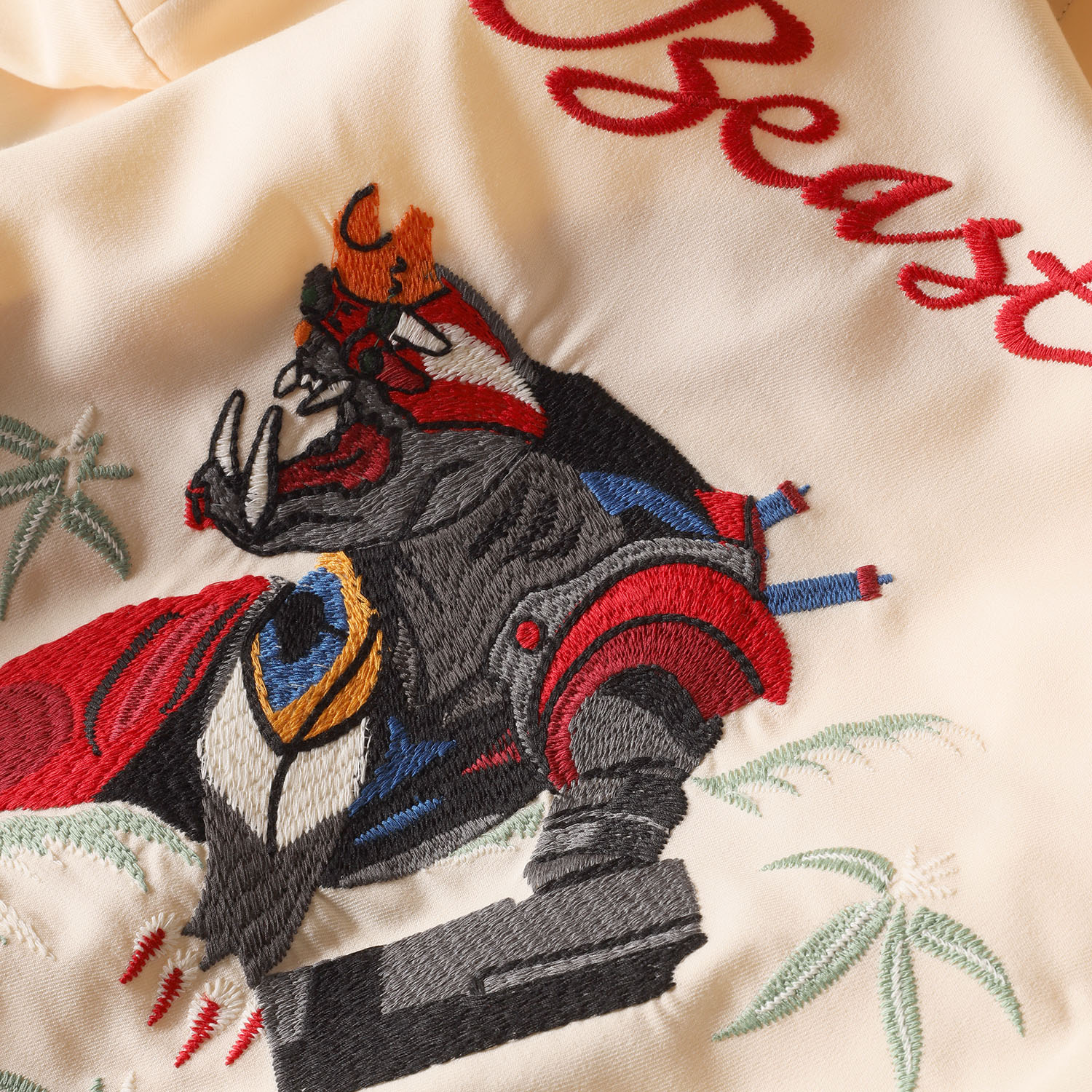 THE BEAST EMBROIDERY SOUVENIR SHIRT (BEIGE)