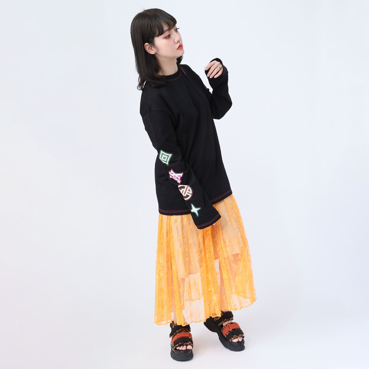 EVA Big Monogram Neon Long T-Shirt (BLACK)