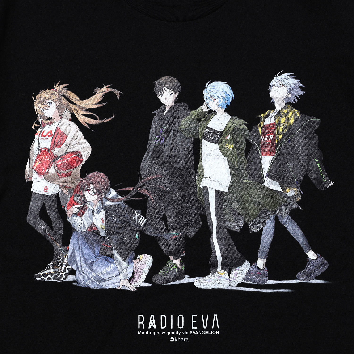 RADIO EVA Illustration T-Shirt (Mai Yoneyama) (BLACK)