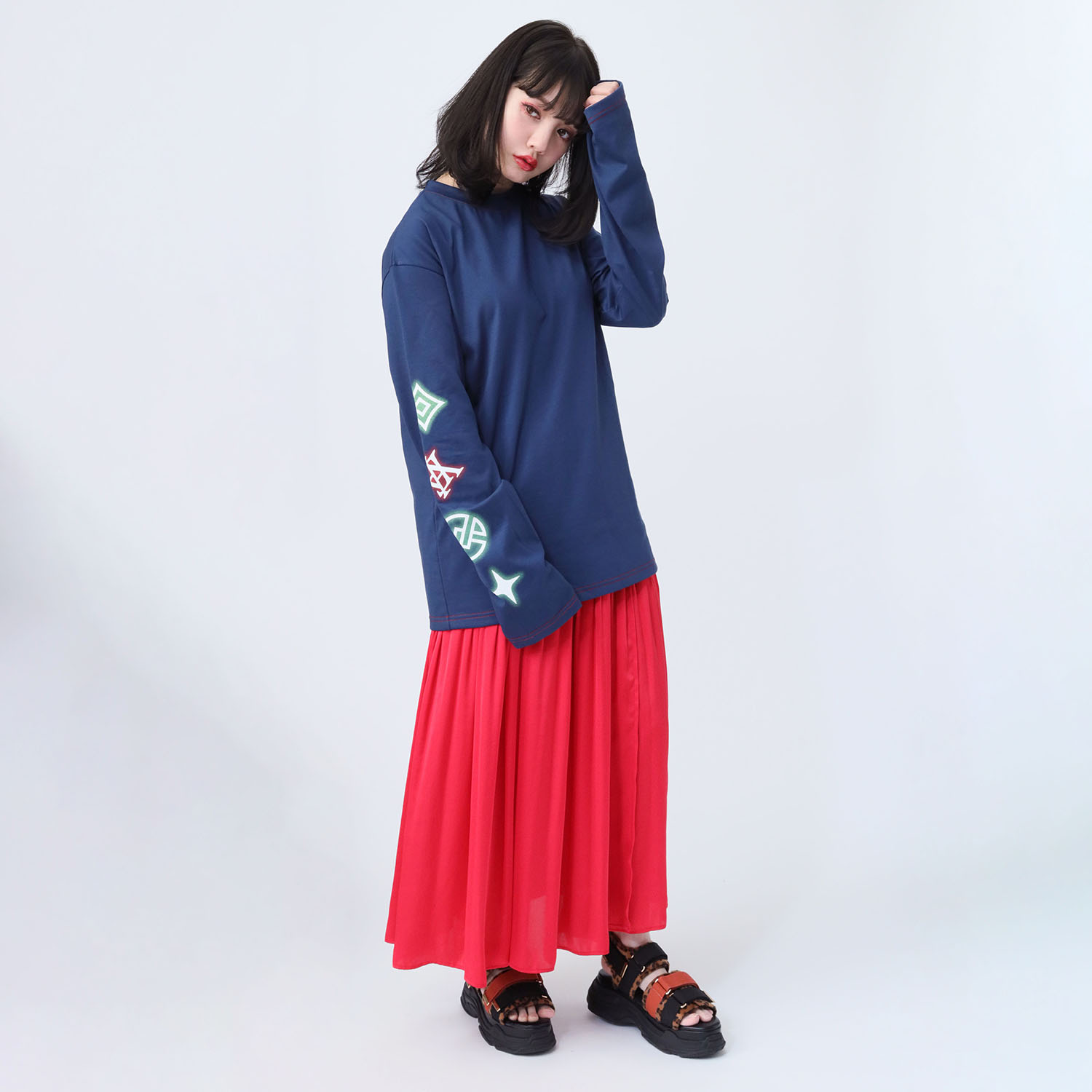 EVA Big Monogram Neon Long T-Shirt (NAVY)