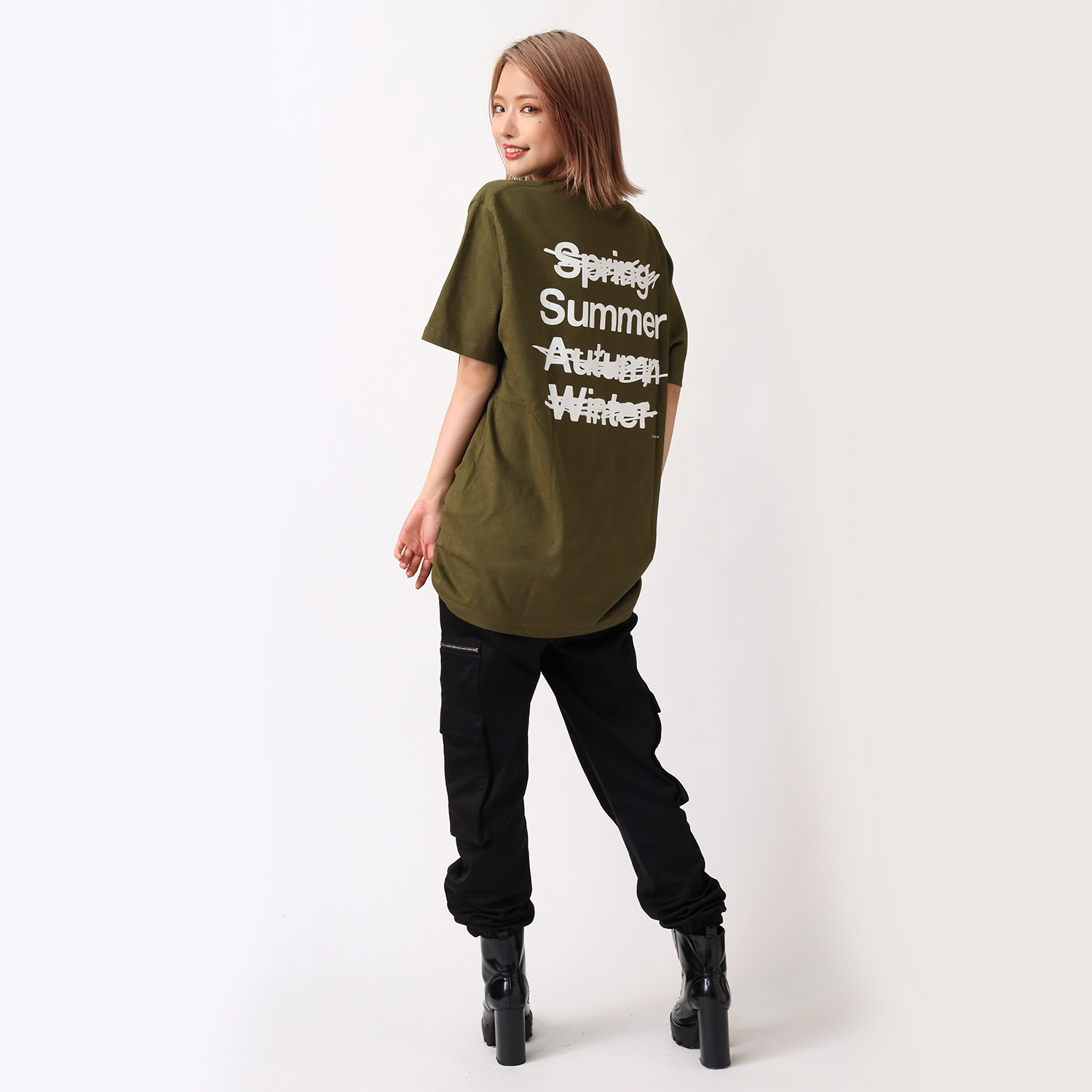 NEW ONLY SUMMER T-Shirt (OLIVE×WHITE)